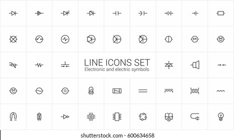Electronic and Electrics symbols. Minimalism vector signs, line icons set for mobile and desktop screens design.