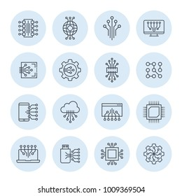 Electronic and engineering communication pictogram. Integration icon.
