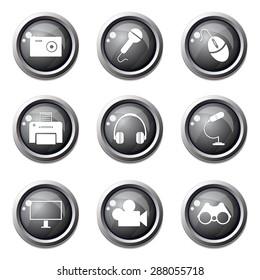 Electronic Equipment Black Vector Button Icon Design Set