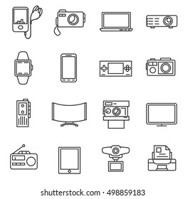 Electronic equipment, line icons set. Electrical engineering, symbols collection. Gadgets, vector linear illustration