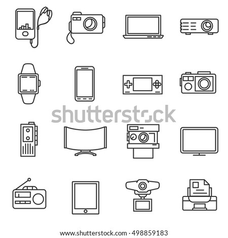Electronic Equipment Line Icons Set Electrical Stock Vector Royalty
