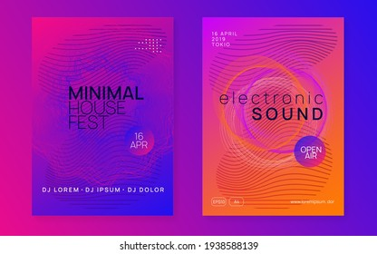 Electronic fest. Dynamic fluid shape and line. Creative concert cover set. Neon electronic fest flyer. Electro dance music. Trance sound. Club event poster. Techno dj party.