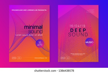 Electronic fest. Dynamic gradient shape and line. Energy discotheque cover set. Neon electronic fest flyer. Electro dance music. Trance sound. Club event poster. Techno dj party.