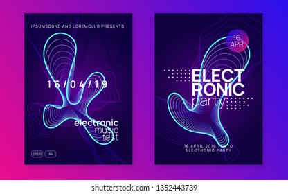 Electronic fest. Futuristic show brochure set. Dynamic gradient shape and line. Neon electronic fest flyer. Electro dance music. Trance sound. Club event poster. Techno dj party.