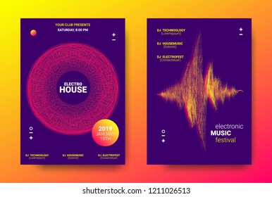 Electronic Festival Music Poster. Party Sound Flyer with Dotted Lines and Round with Movement Effect. Abstract Wave Amplitude. Distorted Wave Music Equalizer. Cover Design Concept of Electronic Music.