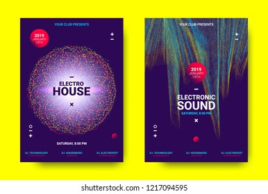 Electronic Festival Music Poster. Party Sound Flyer with Dotted Lines and Round with Movement Effect. Abstract 3d Wave Amplitude. Distorted Music Equalizer. Cover Design Concept of Electronic Music.