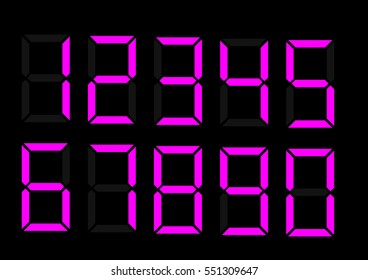 Electronic figures. Purple dial isolated on a black background. Numbers - 0, 1, 2, 3, 4, 5, 6, 7, 8, 9. LCD numbers set for a digital watch and other electronic devices. Vector Eps 10
