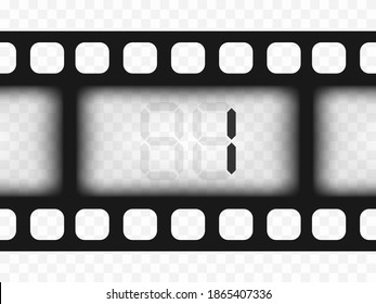Electronic film counter number 1. Countdown. The overlay object is a template on a transparent isolated background.