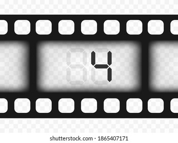 Electronic film counter number 4. Countdown. The overlay object is a template on a transparent isolated background.