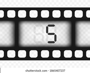 Electronic film counter number 5. Countdown. The overlay object is a template on a transparent isolated background.