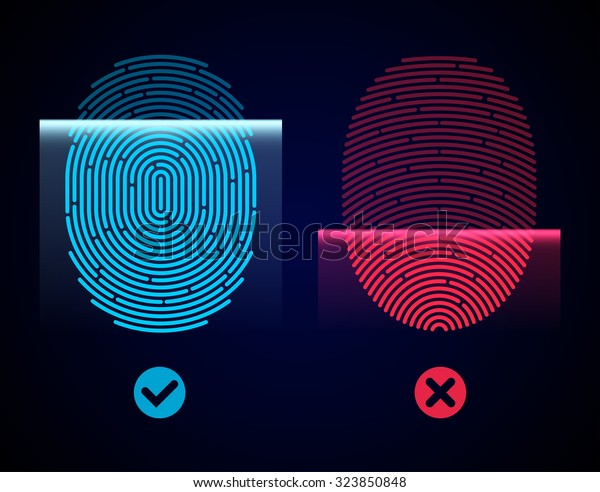 Electronic Fingerprint Scan Passed Not Passed Stock Vector (Royalty