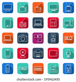 Electronic flat square vector icons with long shadows