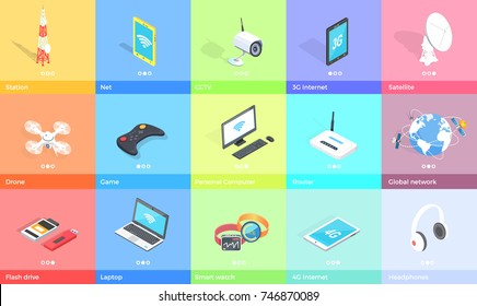 Electronic gadgets collection on colorful backgrounds vector poster in graphic design. Equipment set for entertaining and studying or working