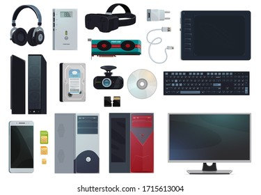 Electronic gadgets, digital technology devices and computer appliances, vector items. Mobile phone SIM cards and charger, PC monitor and stylus pad voice recorder, hard disk and micro SD memory card
