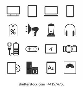 Electronic gadgets and household appliances, icons, monochrome. Vector. Monochrome, flat pictures on a white background.
