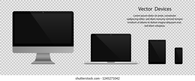 Electronic gadgets. Realistic Computer monitor, Laptop, Tablet and Phone with black screen on transparent background. Eps10