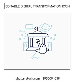 Electronic government line icon. Modern technologies. Digitalization. Solving public affairs online.Digital transformation concept.Isolated vector illustration.Editable stroke