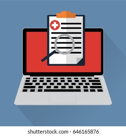 Electronic health online a medical record on laptop with long shadow. Vector illustration online healthcare concept.