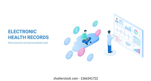 An electronic health record (EHR), or electronic medical record (EMR) - systematized collection of patient and population electronically-stored health information in a digital format.