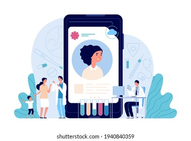 Electronic healthcare. Patient health record, doctor helping people. Ehr, computer medical personal profile or prescription utter vector concept