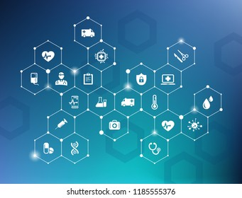 electronic healthcare vector illustration – e-health concept with connected white icons on blue background