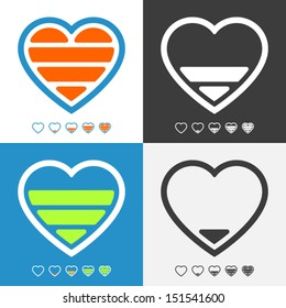 Electronic heart with charge meter. Colorful vector icon set