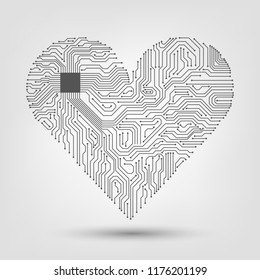 Electronic heart with a microcircuit, love, technology, futuristic cardiology