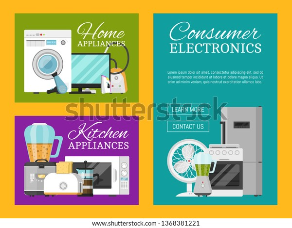 Electronic Household Appliances Set Banners Vector Stock