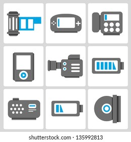electronic icons set, vector