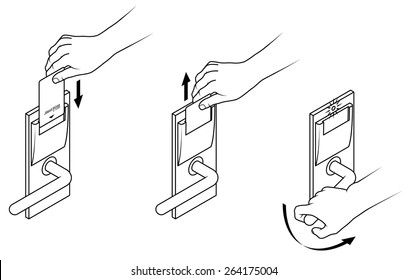 Electronic keycard door opening instructions diagram. Insert and remove card top slot.