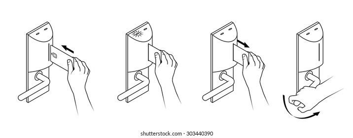 Electronic keycard door opening instructions diagram stock photo electronic keycard door opening instructions diagram insert card with a smartchip ccuart Gallery
