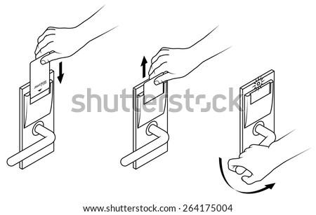 Electronic Keycard Door Opening Instructions Diagram Stock Vector