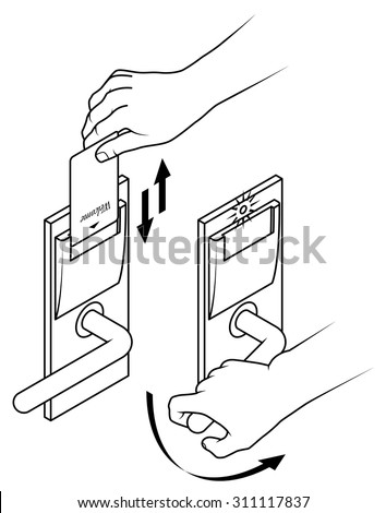 Electronic Keycard Door Opening Instructions Diagram Stock Vector