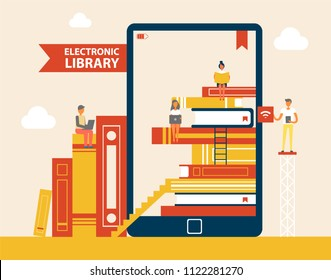 Electronic library books set poster, e-book screen with people reading publications, ladder and bookmarks, e-learning device vector illustration