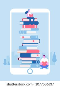 Electronic library in mobile phone. Poster with huge phone and stack of books Love reading concept. Vector flat illustration.
