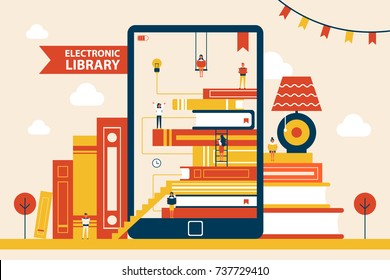 Electronic library promotional poster with huge tablet and thick books in hardcovers isolated cartoon flat vector illustration on white background.
