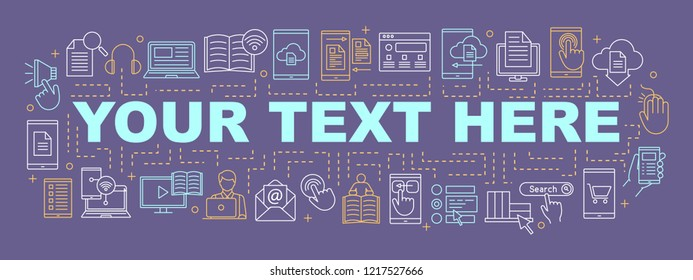 Electronic library word concepts banner. E-books. Presentation, website. Virtual library. Online education. E-learning. Isolated lettering typography with linear icons. Vector outline illustration