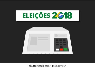 Electronic machine Brazilian voting urn illustration - Electronic Vote elections 2018