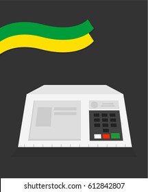 Electronic machine Brazilian voting urn illustration