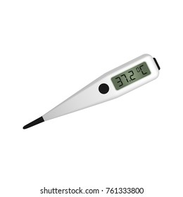 Electronic medical thermometer. Digital device for measuring the temperature of the human body. White background. Vector illustration.