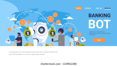 electronic money banking bot people using e-payment application dollar coin global online pay concept artificial intelligence flat horizontal copy space vector illustration