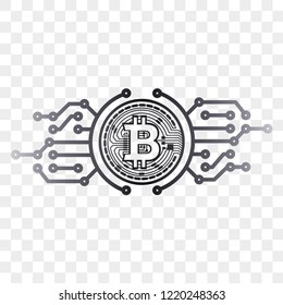 electronic money bitcoin icon with graphics
