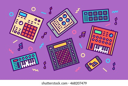 Electronic Music Creation Devices Concept Line Art Bright Colors Illustration. Contemporary Trendy Vector Icons.