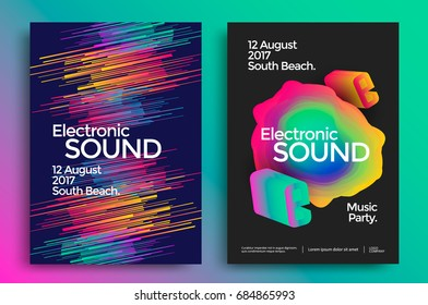 Electronic music and electro sound poster. Modern club party flyer. Bright gradients music background.