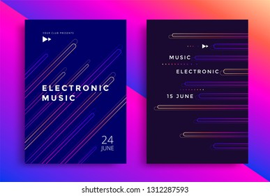 Electronic music fest and electro summer poster. Modern club party flyer with color line. Abstract gradients music background.