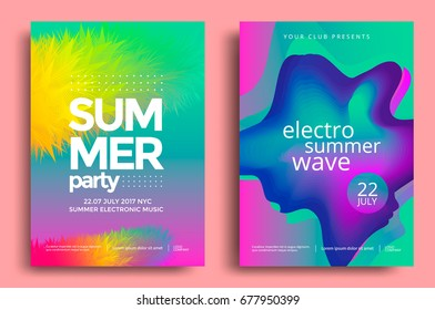 Electronic music fest and electro summer wave poster. Club party flyer. Abstract gradients waves music background.