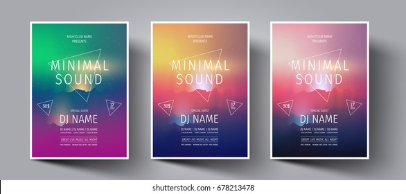Electronic music fest or night club party flyer with background from colorful mountains at sunset with glowing rays.Background in the style of minimalism