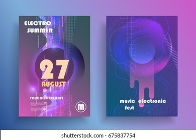 Electronic music fest poster. Club party flyer. Abstract space background.