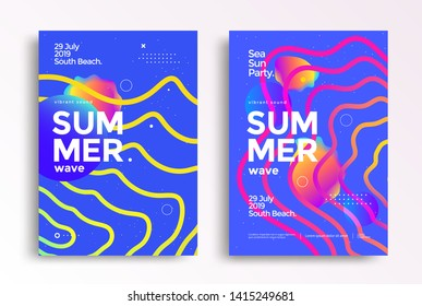 Electronic music fest summer wave poster. Modern club party flyer. Abstract gradients music background with wavy lines.