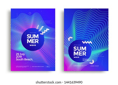 Electronic music fest summer wave poster design. Club party flyer. Abstract gradients sound background with wavy lines.